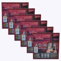6Sets أليس الغيتار الصوتية سلاسل الفوسفور برونزية اللون سبيكة لف 6 سلاسل مجموعة A208SL 011