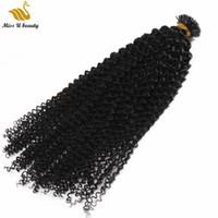 300GRAM PRE-BESONDERE Unsichtbar I Tip Human Hair Extensions Natürliche schwarze Farbe Jerry Curl Afro Kinky 12-30 Zoll