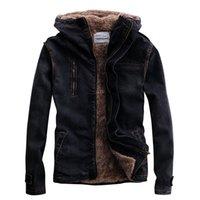 Idopy Denim hiver Veste à capuche en fourrure doublée Biker Noir Moto Designer Style Toison Épaissir chaud Jean Manteau Homme