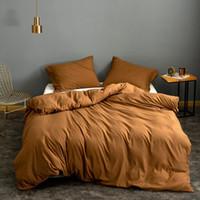 3pcs Sólidos Super macio capa de edredão Rei Rainha completa Duplo Duplo Único Europeu cama Set Consolador Capa para Home Hotel Cama No Sheet