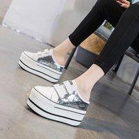 Тапочки платформы Блеск каблуки натуральные кожаные клиновые мулы мужские платформы Seashy High Sandals Comfy женщины