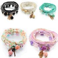 Bracciali per perline di fascino di fiori di stile Bohemian per le donne Boho Tassel Multilayer Simulato Braccialetto di perle Simulato Braccialetto Gioielli Party Goccia Goccia