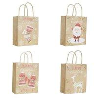 1 Presente de Natal Pcs Sacos de Santa Sacks Kraft saco de papel com punho Kids Party Favors Caixa de Natal Decorações Home embalagem do presente