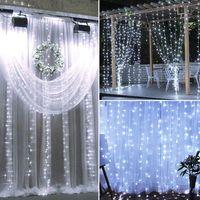 LED solaire de jardin blanc Guirlande de Noël Décor clignotant décoration mariage en plein air de Noël rideau de lumières de fées de lumière