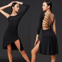 2020 Latin Dance Dress Feminino Adulto Sey Sey Seyless Vestidos Tango Salsa Cha Cha Samba Rumba Dança Prática Latina Dancewear DQS5254