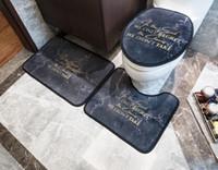 Nouveaux couverts de siège de toilette Print Tapis de bain Accessoires de salle de bains 3PCS Set de piédestal Tapis + couvercle toilettes + tapis de bain Ensemble de salle de bain 201