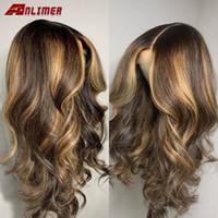 Кружевные парики Ombre Blonde Highlight 13x6 Передние человеческие волосы Бразильские Реми Кузов Масштаб 150% Предварительно сорванный шелковый базой с ребенком