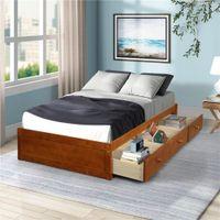 Stati Uniti Stock Oris Fur Oak Color Twin Size Piattaforma Piattaforma Letto di stoccaggio con 3 cassetti per bambini Set da camera da letto per adulti WF193634AAL 2020 Nuovo hotselling