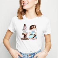 Damen T-Shirt Vogue-Freunde T-shirt Frauen Sommer 90er Jahre Tumblr Kleidung Sexy Mädchen Kaffeebuch Drucken Grafik Tees Streetwear Femme Weiß T Shir