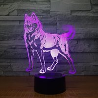 DC 5V trasporto del commercio all'ingrosso 7 RGB Luce calda di vendita Cane da pastore 3D illusione luce della lampada 3D Optical lampada 5 ° batteria USB alimentato