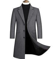 Erkek Tasarımcı Hendek Coats Ceketler Tek Breasted WINDBREAKER Pamuk Dolgu Palto Erkekler Giyim Katı Ekstra Uzun paltolar 4XL Isınma