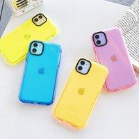 Неон Люминесцентные Цвет Прозрачный телефон чехол для iPhone SE 2020 11 Pro X XR XS Max 7 8 Plus Candy Цвет Ударопрочный Мягкая обложка