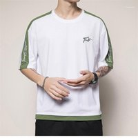 Sleeve Letter Print Clothing Mens Casual Fashion Tops Mens Designer T Shirts Embroidery Panelled Tees Short