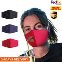 Adulti Bambini Cotone Maschera maschera bere con foro per Straw lavabili riutilizzabili antipolvere Mask Bocca esterna maschere Copertina Maschere Designer
