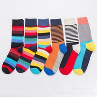 Men Socks Fashion Funny Stripe Stitching Colorful Happy Personality Harajuku Casual Hip Hop Cotton Male Dress Sock Autumn Winter