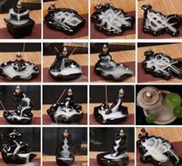 세라믹 유약 폭포 역류 향로 향로 홀더 콘 홈 장식 24 개 스타일 콘과 향 버너 스틱 KKA8036