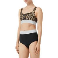 Traje de baño de grano leopardo estilos de verano empuje hacia arriba halter top traje de baño sexy mujeres de una pieza traje de baño conjuntamente monokini traje de baño bikini