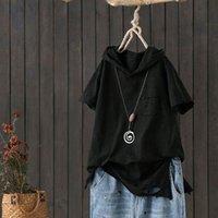 Fje Yeni Moda Yaz Kadın Tişörtlü Artı boyutu Kısa Kollu Gevşek Casual Kapşonlu Tee Gömlek Delik Pamuk Femme Tops D32 200925 yazdır