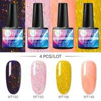 Mtssii 4Pcs Nail Color Gel Polish Set Matte Top Base Coat Glitter Soak Off UV Gel Varnish Nail Art Manicure Lacquer Decorations