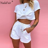 Nadafair Shorts Sets Women 2020 Summer Outfit O Neck Sexy Crop Tops And Mini Shorts Ribbed Solid Casual Two Piece Set Women T200903