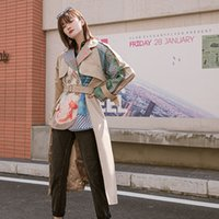 2020 New Spring Plus size Irregular Waist Belts Printed Patchwork Windbreaker Women Double breasted Casual Trench coat Outerwear