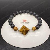 Großhandel Silber überzogene Pyramide Tiger-Augen-Stein Connect-elastisches Armband Lapislazuli Fashion Jewelry