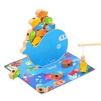 الرضع خشبي حبة لعب الصيد المغناطيسي ألعاب المعرفي Jenga لعبة 3D السمك الطفل ألعاب تعليمية مضحك في وقت مبكر الطفل هدايا