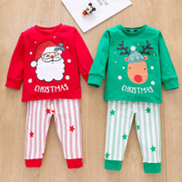 Christmas baby clothing sets Santa Claus deer print long sle...