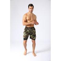 Мужские шорты Фитнес 2 в 1 Lightweight Running Леггинсы Camo Шорты Мужчины Quick Dry Pants с Карманы Беговая тренировки