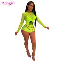 여성용 jumpsuits rompers Adogirl 편지 인쇄 깎아 지른 메쉬 점프 슈트 O 넥 긴 소매 백리스 반바지 Playsuit 여성 장난 꾸러기 여름 Nightcl