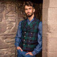 Fashion Men Green Plaid Gilet Vest Jacket Medium Large Plus Warm Sleeveless Double Button Warm Vintage Retro Coat for Autumn Winter