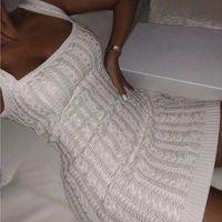 2020083010 Piazza vestito le donne autunno bianco aderente lavorato a maglia colletto senza maniche sexy spalle inverno Vestitino Club di base