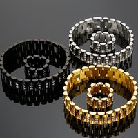 CZ 쥬얼리 남성 팔찌 16MM 와이드 시계 스트랩 체인 링크 스테인레스 스틸 팔찌를 들어 팔찌 남성 보석 액세서리 도매