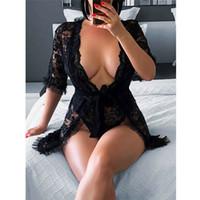Sexy Эротическое Hot Lace Lingerie Глубокий V-образным вырезом Погружение пижамы женщин Летняя ночь Одежда Нижнее белье Nightgowns сорочка De Nuit
