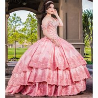 Rosa Bonbon 16 Quinceanera SpitzeApplique weg von der Schulter-Festzug-Kleid abgestufter Rock mexikanische Mädchen-Geburtstags-Kleider