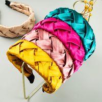 Элегантный корейский стиль сплошной цвет сатин Ткань повязка для женщина способа ручной работы Креста Woven Hairband Женщина партии Аксессуары для волос