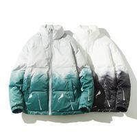 Grüner schwarzer Mantel Männer Verdicken Reißverschluss Gradienten Winter Warme Jacken Stehkragen Männer Casual Oversize Parka Warme Herrenjacken