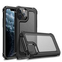Cáscara de protección de la caja del teléfono móvil a prueba de golpes de fibra de carbono para iPhone 12 XS 11 Pro Max XR 6 7 8 PLUS Bolsas de teléfono móvil transparente transparente