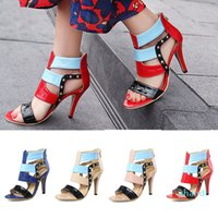 Hot sale-2018 high fashion designer sandal stiletto python pattern patchwork multi-color heels dress dinner party summer pumps