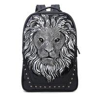 배낭 남성 새로운 펑크 구호 사자 머리 동물 야외 여행 가방 패션 캐주얼 방수 유럽과 미국 스포츠 가방 도매