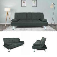 US stock,FUTON SOFA BED SLEEPER DARK GREY FABRIC with Pillow Cushion Multifunctional Living Room Sofa W22303581