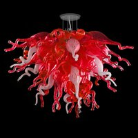 펜 던 트 램프 현대 샹들리에 손 날 눌린 유리 샹들리에 빛 작은 크기 빨간색과 흰색 크리스탈 실내 조명 LED 펜 던 트 - 빛