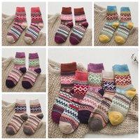 Hiver Chaussettes thermique Vintage Bas laine colorés Chaussettes en tricot mi-bas de Noël Bonneterie Fashion Cotton Casual Chaussettes Anklet RRA3539