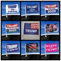 45 * 30 centímetros Bandeira Car Trump Moda 2020 Bandeira janela US Bandeira Eleição presidencial Trump carro, incluindo Flagpole T500132