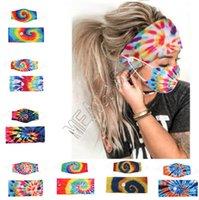 Маска для лица держатель ободки с кнопки Hairband Milk Silk Tie Dye Маски Взрослые Мода Спираль Эластичные Маски Головные Bands волос Аксессуар D81808