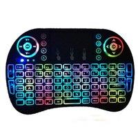 Teclado para juegos i8 mini-juego del ratón 2.4g touchpad de gran tamaño de la batería recargable Fly Air ratón remoto de TV de control con 7 colores de retroiluminación