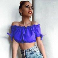 النساء ملابس الصيف حمالة إمرأة مصمم تي شيرت عصري البطن كاندي اللون مثير Buttom للنساء القمم