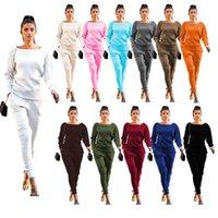 Women Two Piece Tracksuits Set Fashion Solid Big Round Neck ...