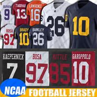 NCAA 미시간 톰 브래디 뉴저지 Saquon 바클리 유니폼 6-26 지미 가로 폴로 조지 키틀 뉴저지 닉 보사 콜린 캐 퍼닉 유니폼