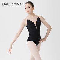 ballet leotard women aerialist Practice Dance Costume deep V Sling Black gymnastics Leotard Adulto Ballerina 5039 CX200818